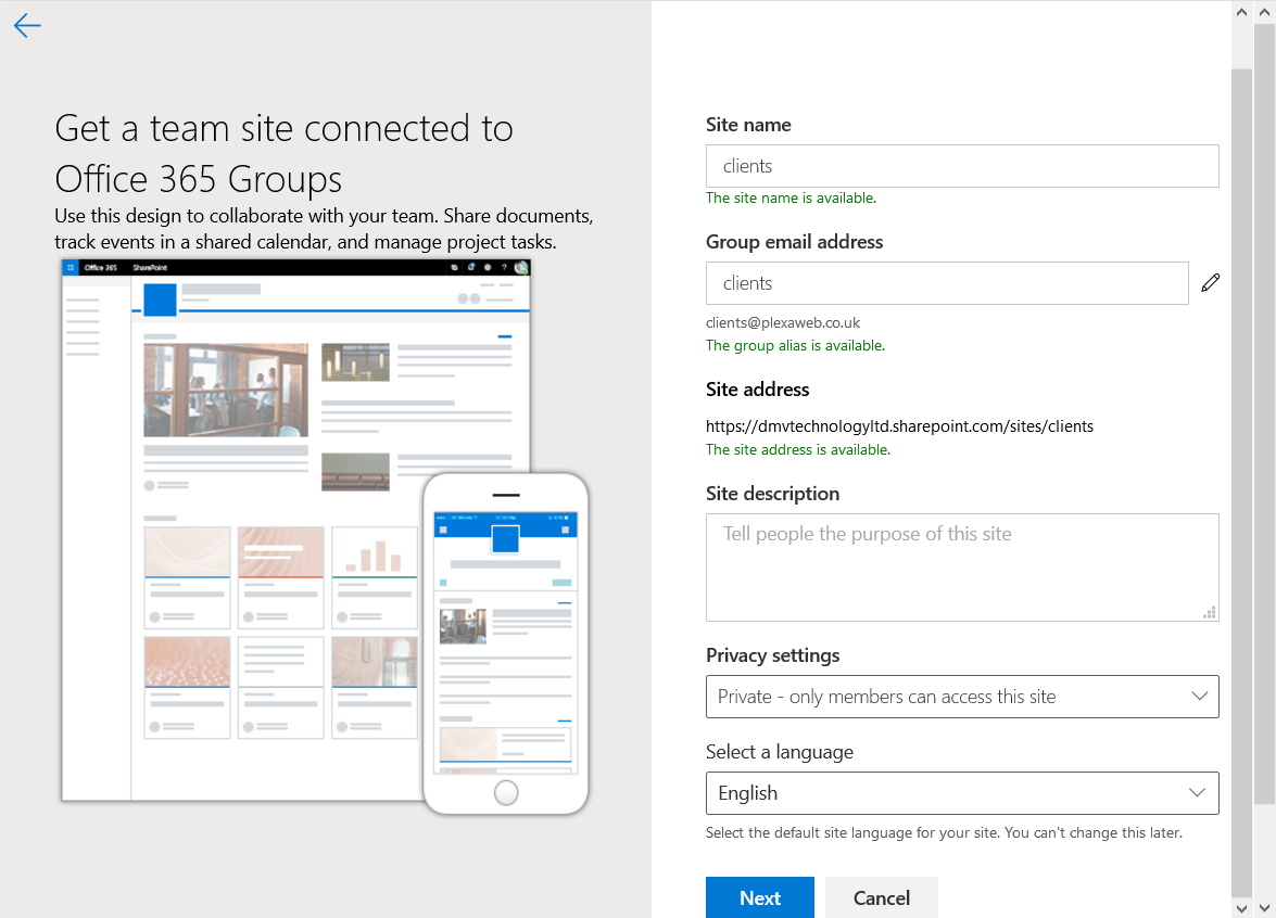Sharepoint create site