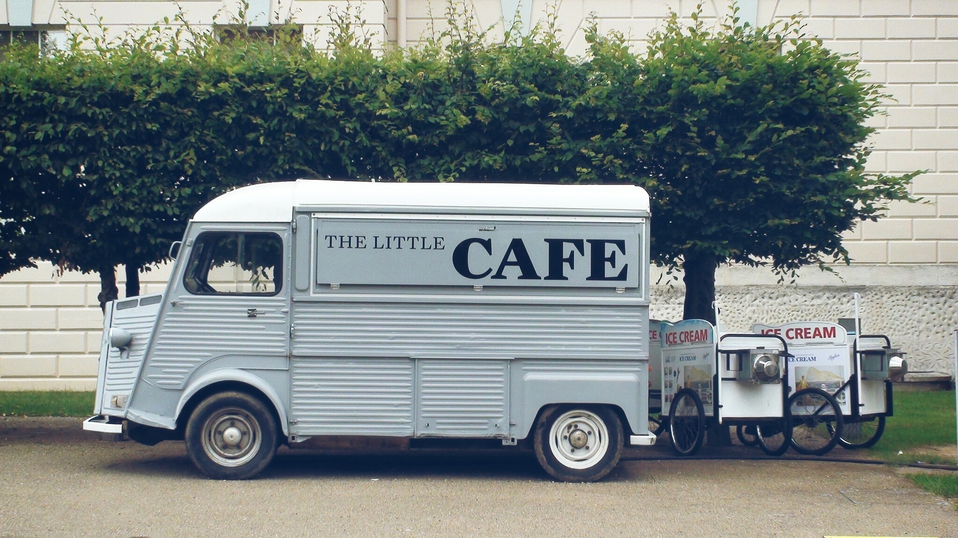 sign written van with cafe on side