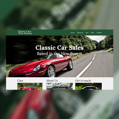 Classic Cars New Forest | Website Design | Website Preview Image